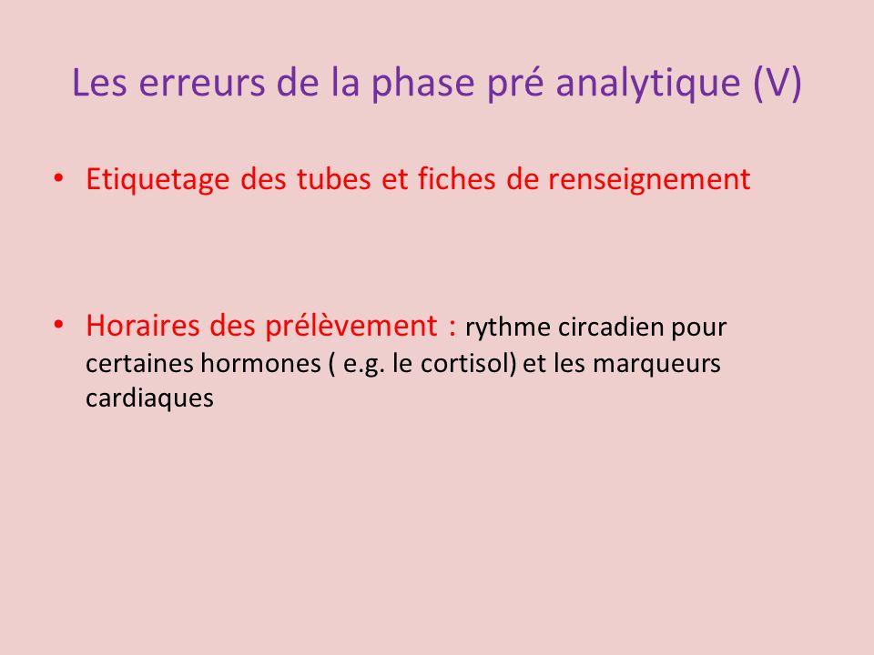 Les erreurs de la phase pré analytique (V) Etiquetage des tubes et fiches de renseignement Horaires des prélèvement : rythme circadien pour certaines