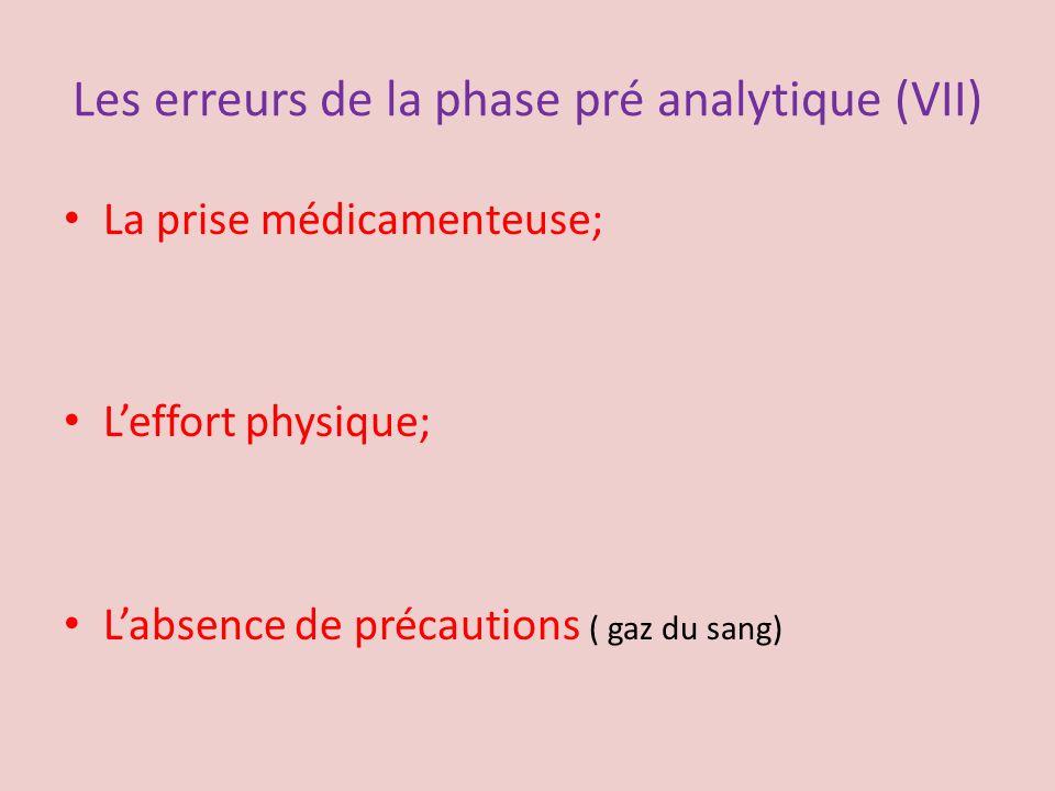 Les erreurs de la phase pré analytique (VII) La prise médicamenteuse; Leffort physique; Labsence de précautions ( gaz du sang)