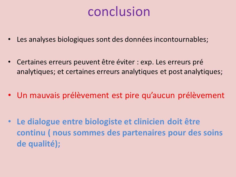 conclusion Les analyses biologiques sont des données incontournables; Certaines erreurs peuvent être éviter : exp. Les erreurs pré analytiques; et cer