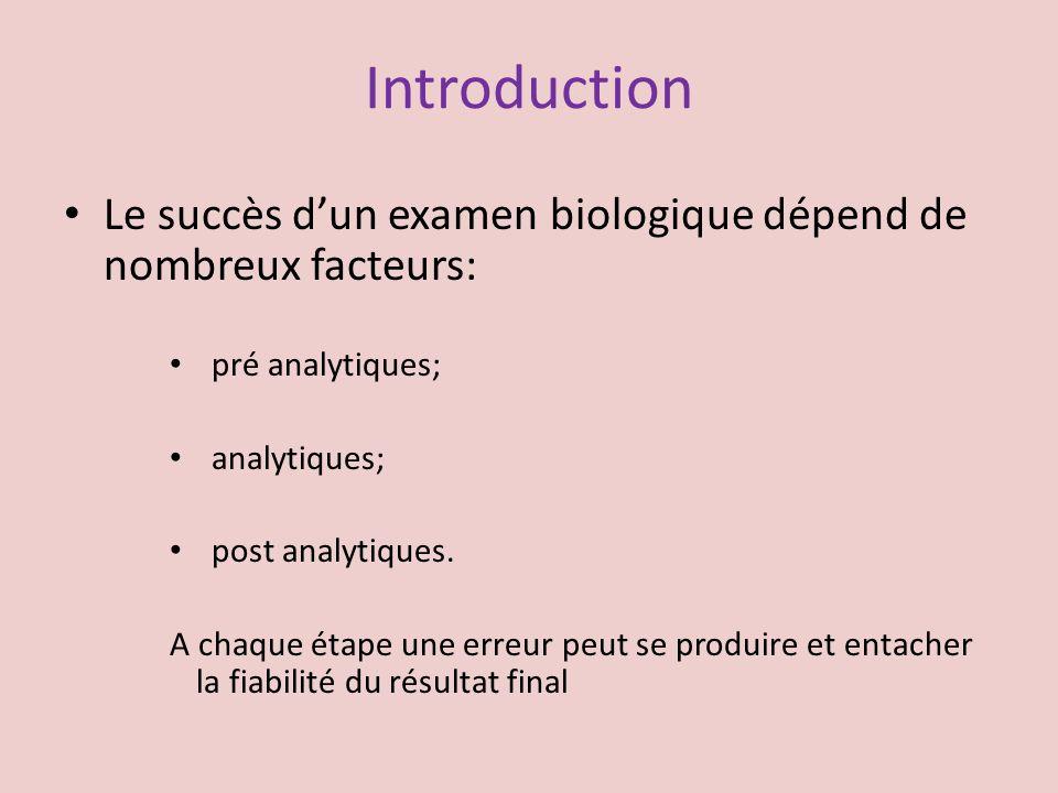Introduction Le succès dun examen biologique dépend de nombreux facteurs: pré analytiques; analytiques; post analytiques. A chaque étape une erreur pe