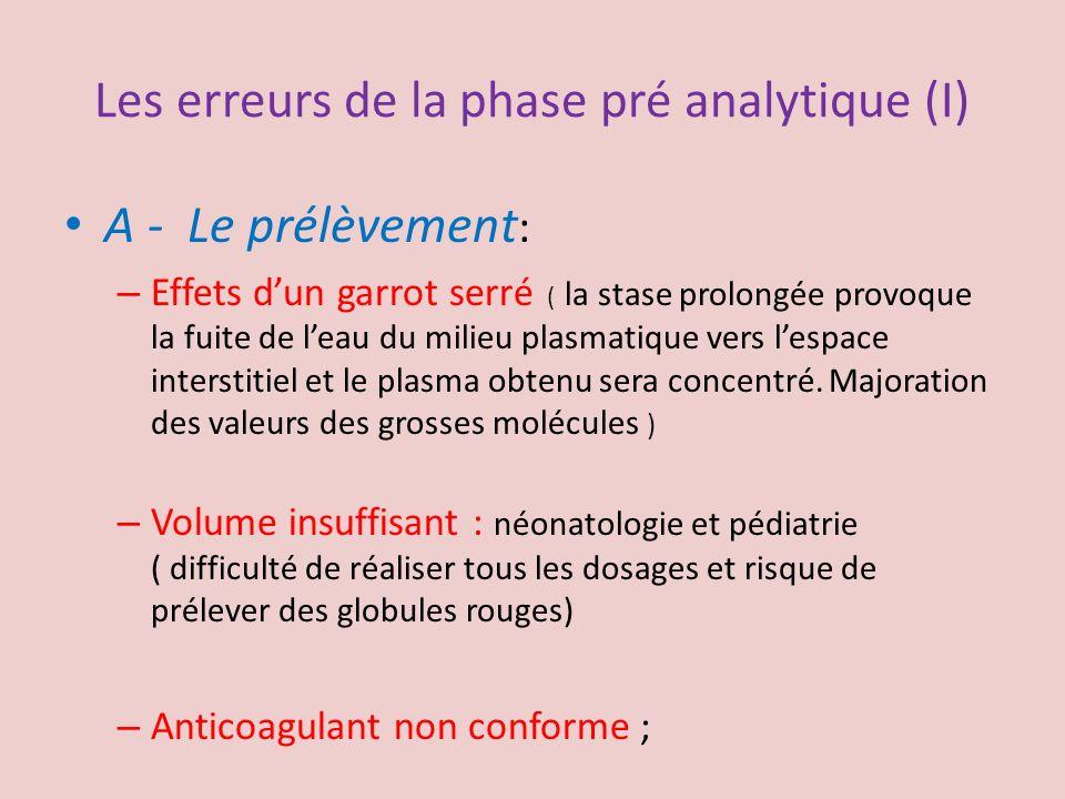 Les erreurs de la phase pré analytique (I) A - Le prélèvement : – Effets dun garrot serré ( la stase prolongée provoque la fuite de leau du milieu pla