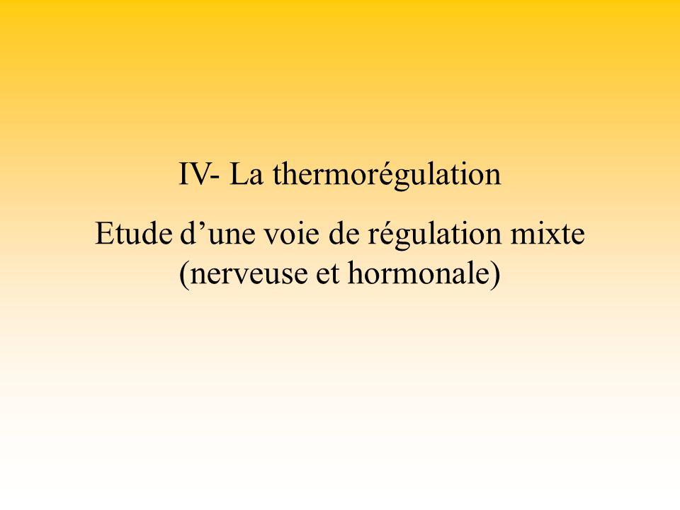 IV- La thermorégulation Etude dune voie de régulation mixte (nerveuse et hormonale)
