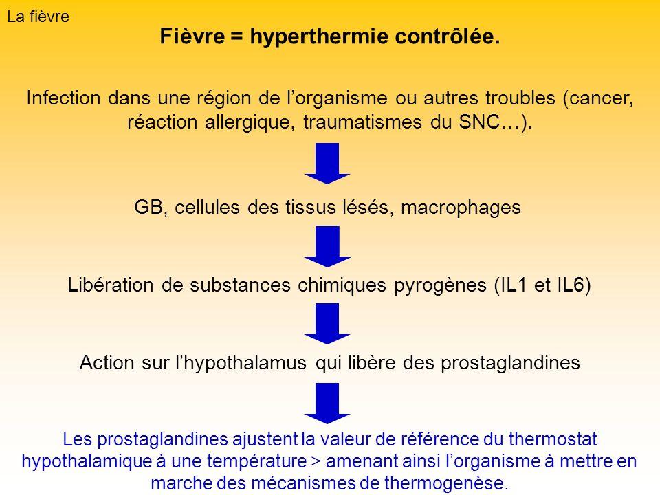 La fièvre Fièvre = hyperthermie contrôlée. Infection dans une région de lorganisme ou autres troubles (cancer, réaction allergique, traumatismes du SN