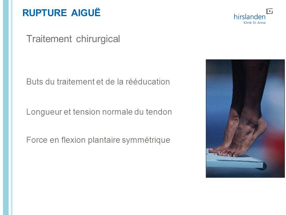 RUPTURE AIGUË Buts du traitement et de la rééducation Longueur et tension normale du tendon Force en flexion plantaire symmétrique Traitement chirurgi