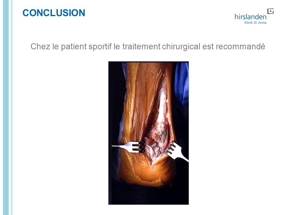 CONCLUSION Chez le patient sportif le traitement chirurgical est recommandé