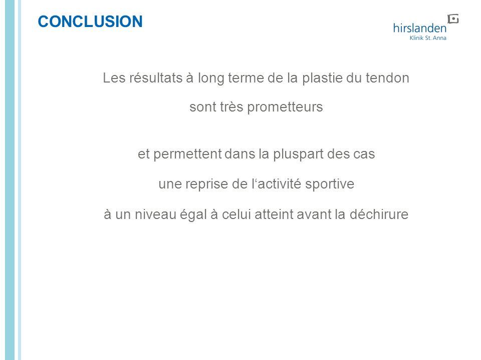CONCLUSION Les résultats à long terme de la plastie du tendon sont très prometteurs et permettent dans la pluspart des cas une reprise de lactivité sp