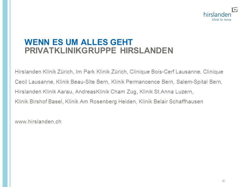 35 WENN ES UM ALLES GEHT PRIVATKLINIKGRUPPE HIRSLANDEN Hirslanden Klinik Zürich, Im Park Klinik Zürich, Clinique Bois-Cerf Lausanne, Clinique Cecil La