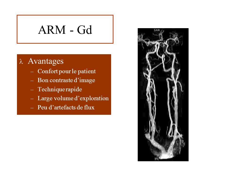 ARM - Gd Avantages – Confort pour le patient – Bon contraste dimage – Technique rapide – Large volume dexploration – Peu dartefacts de flux