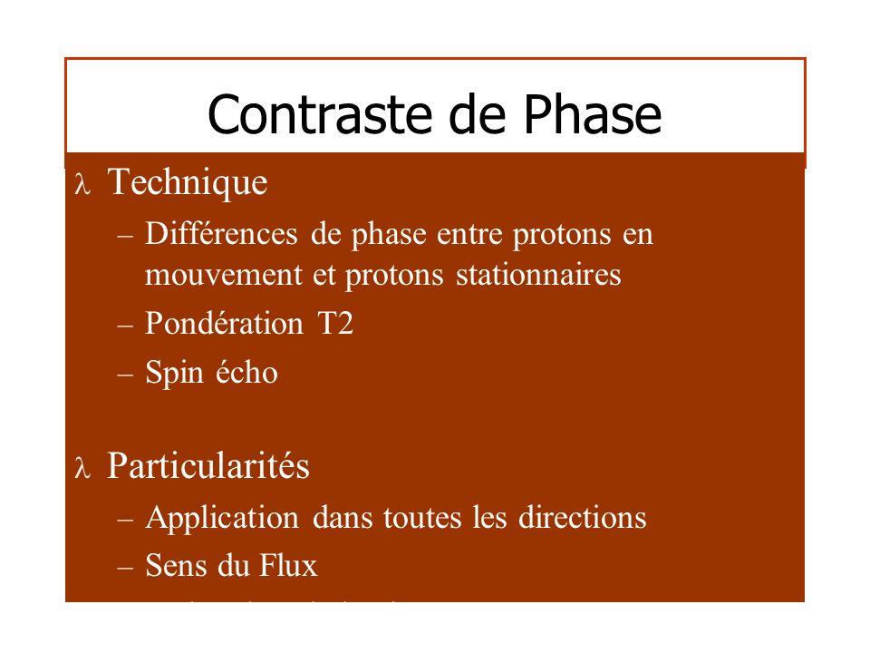 Contraste de Phase Technique – Différences de phase entre protons en mouvement et protons stationnaires – Pondération T2 – Spin écho Particularités – Application dans toutes les directions – Sens du Flux – Estimation de la vitesse