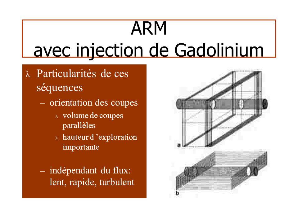 ARM avec injection de Gadolinium Particularités de ces séquences – orientation des coupes volume de coupes parallèles hauteur d exploration importante – indépendant du flux: lent, rapide, turbulent