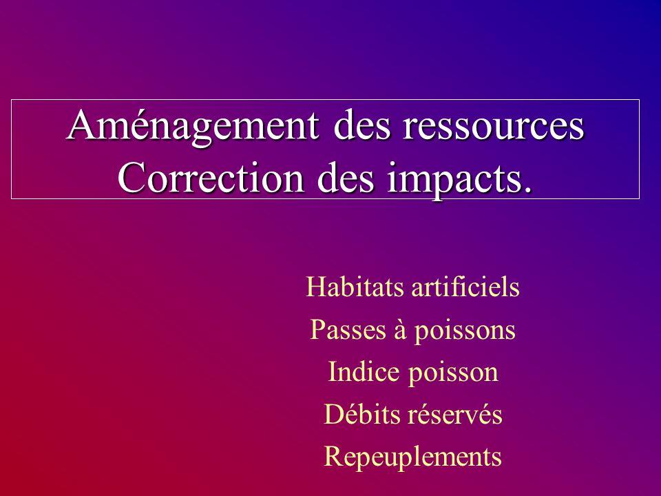 Aménagement des ressources Correction des impacts. Habitats artificiels Passes à poissons Indice poisson Débits réservés Repeuplements