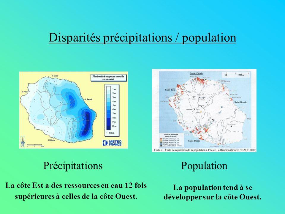 Disparités précipitations / population PrécipitationsPopulation La côte Est a des ressources en eau 12 fois supérieures à celles de la côte Ouest. La