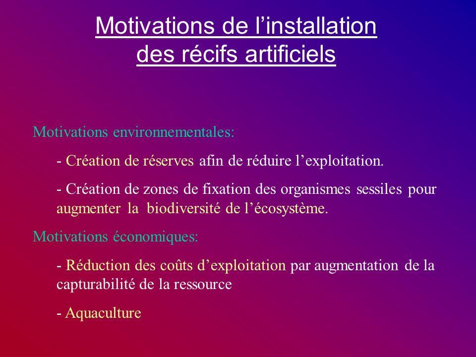 Motivations de linstallation des récifs artificiels Motivations environnementales: - Création de réserves afin de réduire lexploitation. - Création de