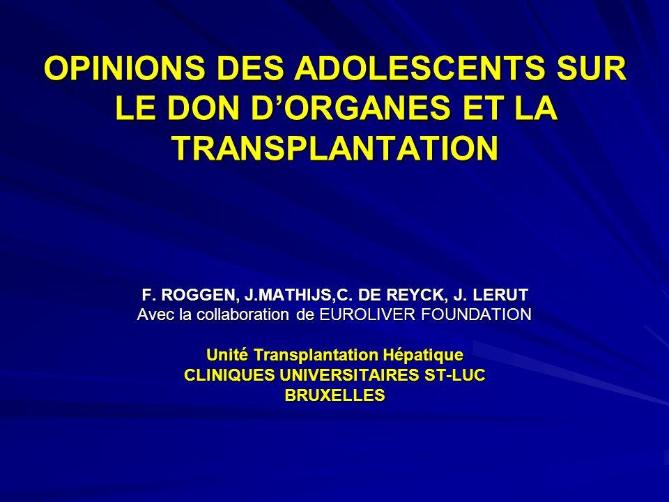 OPINIONS DES ADOLESCENTS SUR LE DON DORGANES ET LA TRANSPLANTATION F. ROGGEN, J.MATHIJS,C. DE REYCK, J. LERUT Avec la collaboration de EUROLIVER FOUND