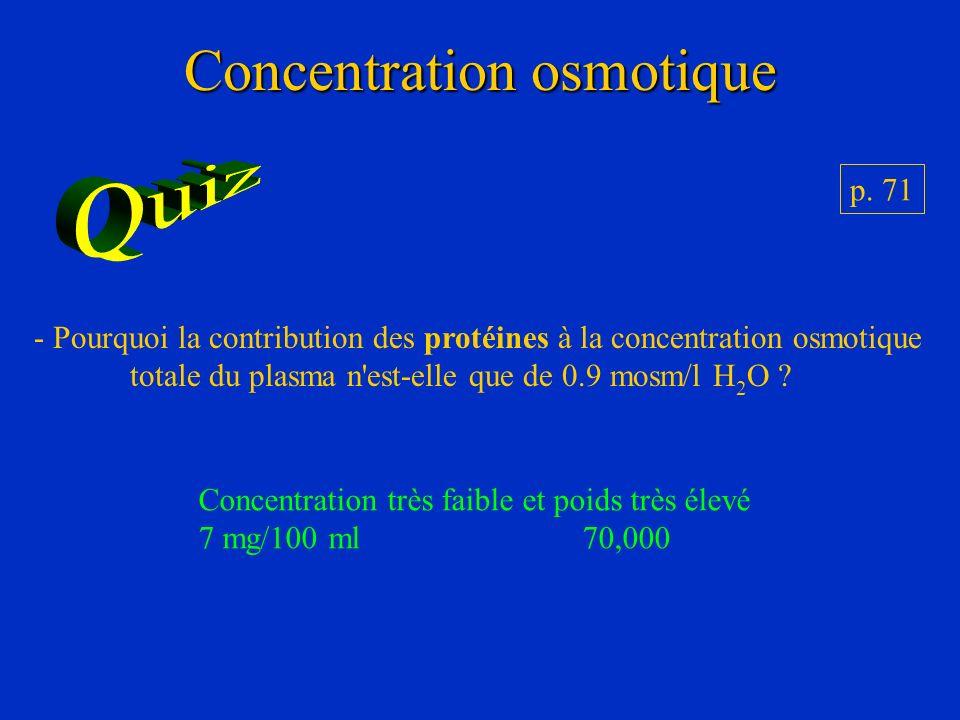 Concentration osmotique p. 71 - Pourquoi la contribution des protéines à la concentration osmotique totale du plasma n'est-elle que de 0.9 mosm/l H 2