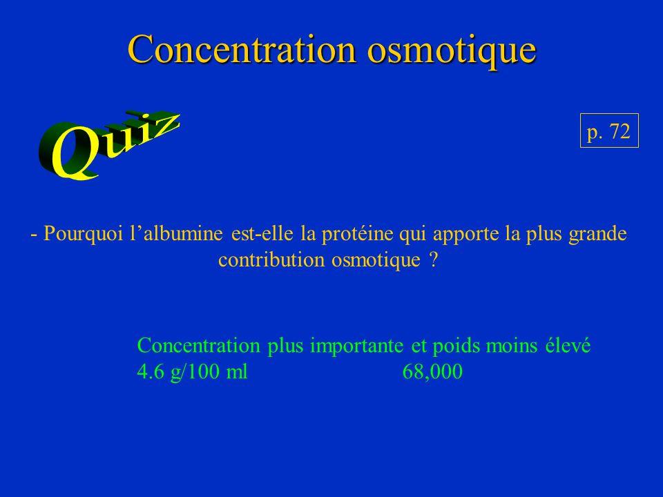 Concentration osmotique p. 72 - Pourquoi lalbumine est-elle la protéine qui apporte la plus grande contribution osmotique ? Concentration plus importa