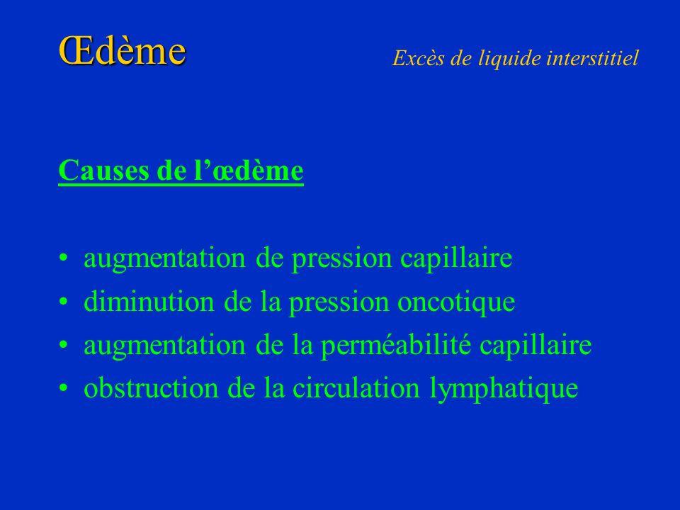 Œdème Causes de lœdème augmentation de pression capillaire diminution de la pression oncotique augmentation de la perméabilité capillaire obstruction
