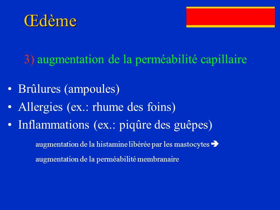 Œdème Brûlures (ampoules) Allergies (ex.: rhume des foins) Inflammations (ex.: piqûre des guêpes) augmentation de la histamine libérée par les mastocy