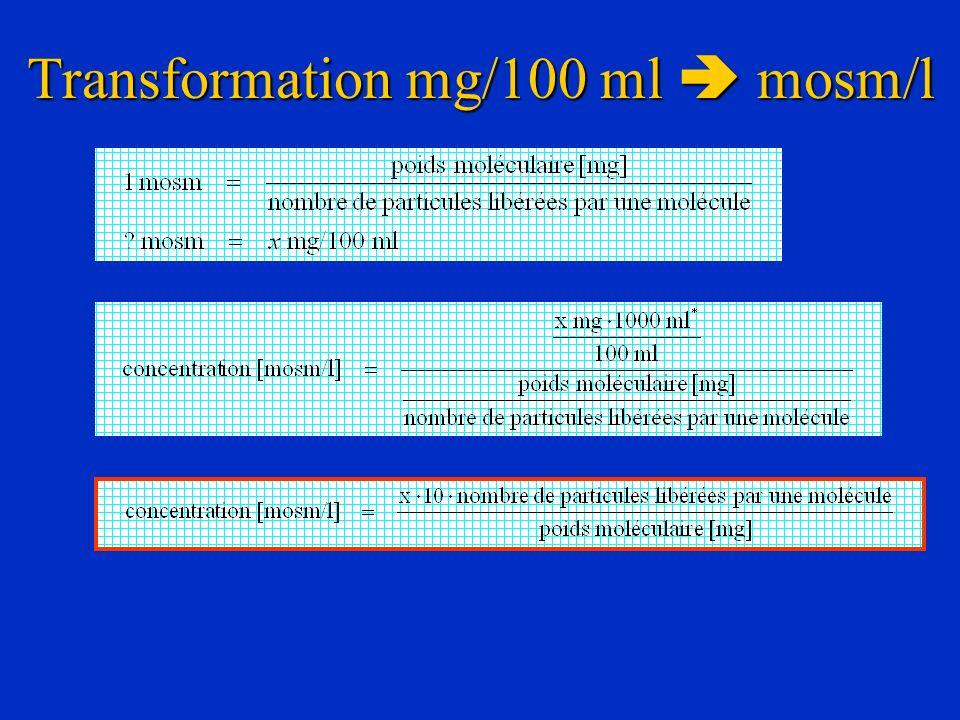 Transformation mg/100 ml mosm/l