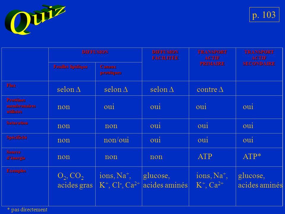 p. 103 DIFFUSIONDIFFUSIONFACILITÉETRANSPORTACTIFPRIMAIRETRANSPORTACTIFSECONDAIRE Feuillet lipidique Canaux protéiques Flux Protéinesmembranairesutilis