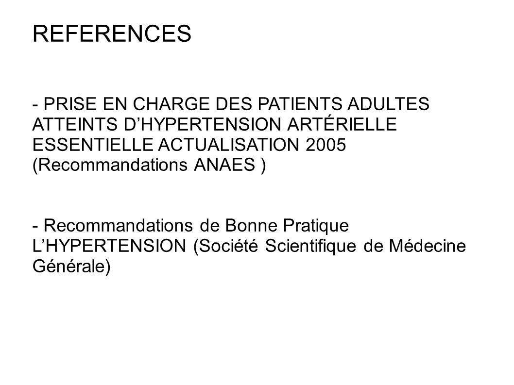REFERENCES - PRISE EN CHARGE DES PATIENTS ADULTES ATTEINTS DHYPERTENSION ARTÉRIELLE ESSENTIELLE ACTUALISATION 2005 (Recommandations ANAES ) - Recomman