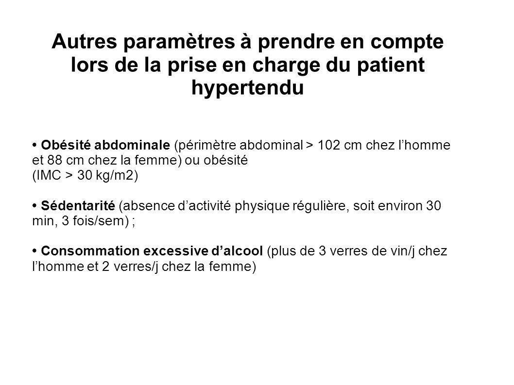 Autres paramètres à prendre en compte lors de la prise en charge du patient hypertendu Obésité abdominale (périmètre abdominal > 102 cm chez lhomme et