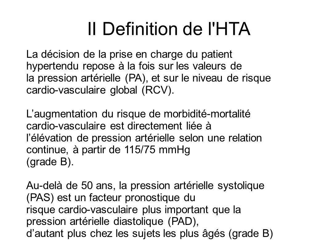 La relation continue entre le niveau de PA et le risque cardio-vasculaire ne permet pas de déterminer un seuil précis dHTA: LHTA est définie de façon consensuelle par une PAS 140 mmHg et/ou une PAD 90 mmHg, mesurées au cabinet médical et confirmées au minimum par 2 mesures par consultation, au cours de 3 consultations successives, sur une période de 3 à 6 mois.