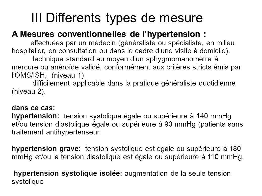 III Differents types de mesure A Mesures conventionnelles de lhypertension : effectuées par un médecin (généraliste ou spécialiste, en milieu hospital