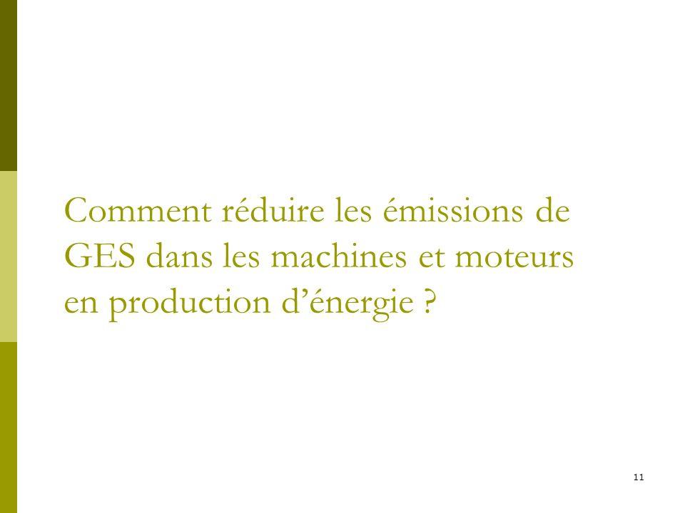 11 Comment réduire les émissions de GES dans les machines et moteurs en production dénergie ?