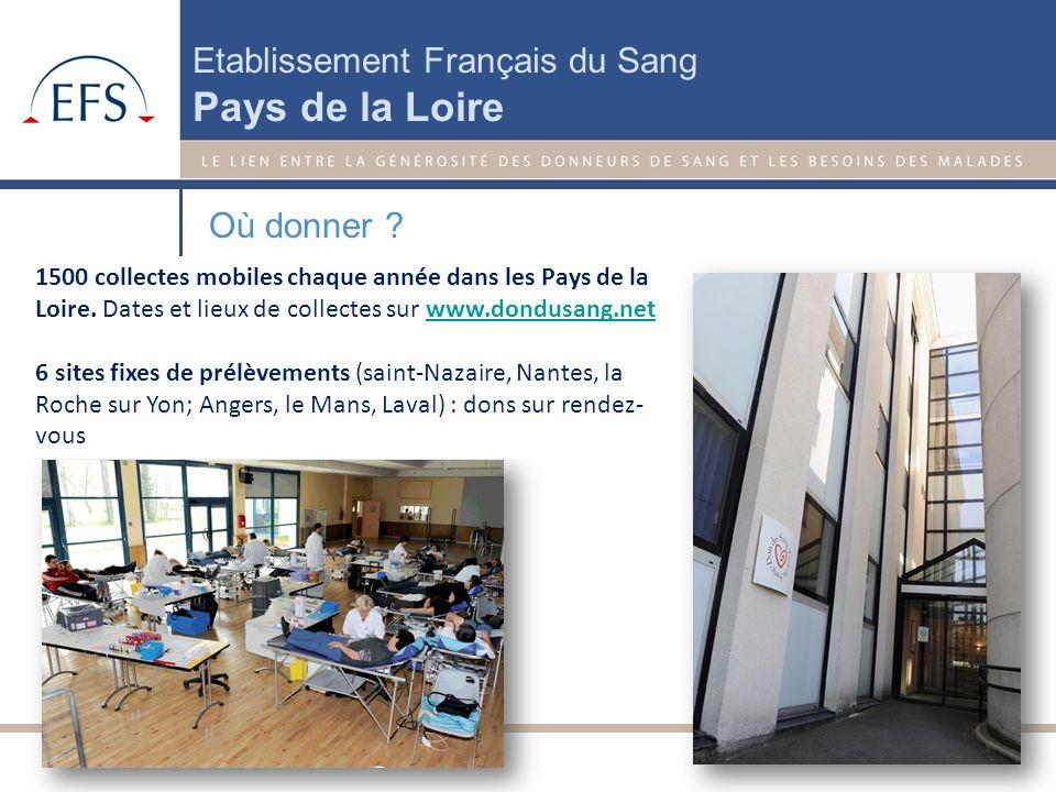 Etablissement Français du Sang Pays de la Loire Qui peut donner ? Pour donner votre sang : Vous devez avoir entre 18 et 70 ans le jour de la collecte