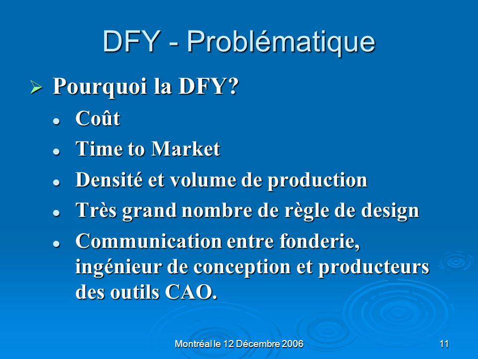 Montréal le 12 Décembre 200611 DFY - Problématique Pourquoi la DFY? Pourquoi la DFY? Coût Coût Time to Market Time to Market Densité et volume de prod