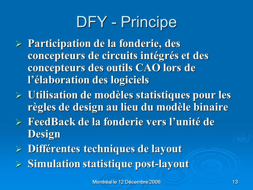 Montréal le 12 Décembre 200613 DFY - Principe Participation de la fonderie, des concepteurs de circuits intégrés et des concepteurs des outils CAO lor