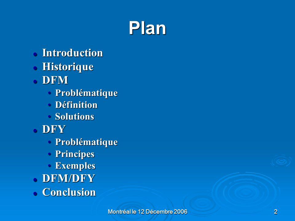 Montréal le 12 Décembre 20062 Plan Introduction Introduction Historique Historique DFM DFM ProblématiqueProblématique DéfinitionDéfinition SolutionsSo