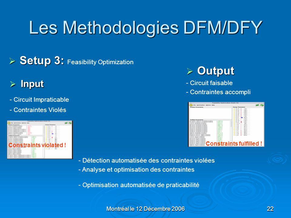 Montréal le 12 Décembre 200622 Les Methodologies DFM/DFY Input Input - Circuit Impraticable - Contraintes Violés Output Output - Circuit faisable - Co