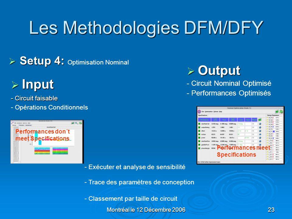 Montréal le 12 Décembre 200623 Les Methodologies DFM/DFY Input Input - Circuit faisable - Opérations Conditionnels Output Output - Circuit Nominal Opt