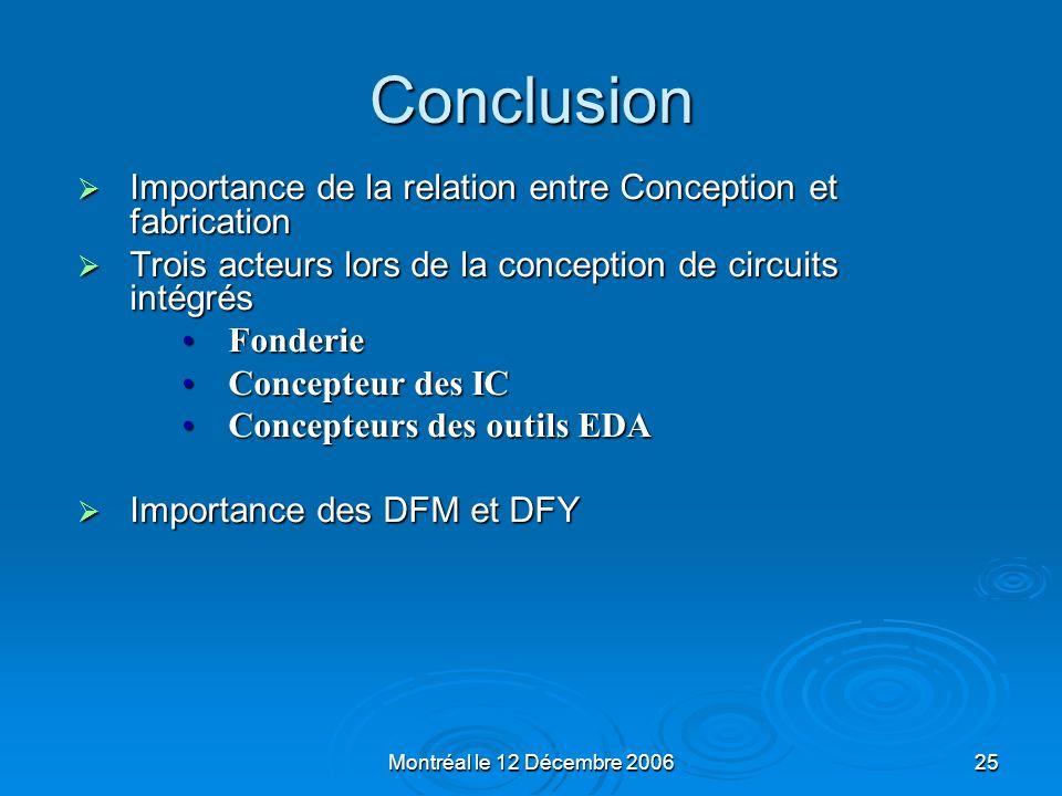 Montréal le 12 Décembre 200625 Conclusion Importance de la relation entre Conception et fabrication Importance de la relation entre Conception et fabr