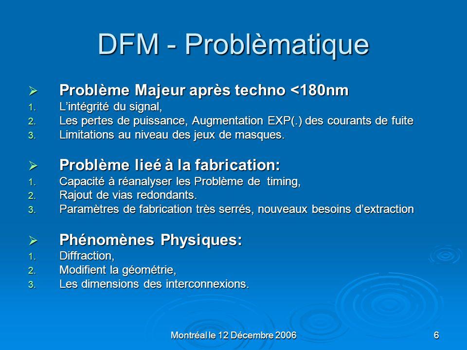 Montréal le 12 Décembre 20067 DFM - Problèmatique Incidence sur le test Incidence sur le test Difficulté daccéder à une couverture de test de 100% Difficulté daccéder à une couverture de test de 100% Nécessité dintégrer les moyens de test dès la conception (DFT, DFM) Nécessité dintégrer les moyens de test dès la conception (DFT, DFM) Augmentation du temps de développement des programmes de test (dizaines dhomme – mois) Augmentation du temps de développement des programmes de test (dizaines dhomme – mois) Variations du process de fabrication : Variations du process de fabrication : Des aspects de la conception Relation entre fabrication et conception: DFM, Relation entre fabrication et conception: DFM, DFY, DFM/DFY DFY, DFM/DFY