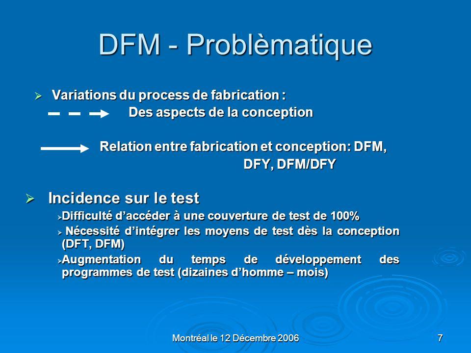 Montréal le 12 Décembre 20068 DFM - Definition DFM : Design For Manufacturability DFM : Design For Manufacturability DFM et DFT: 2 mots de la mode sur le marché EDA DFM et DFT: 2 mots de la mode sur le marché EDA DFM est gestion des contraintes de technologie appliquées à la conception de circuit.