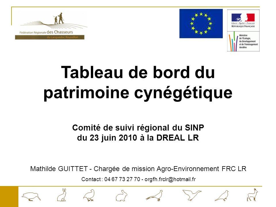 Tableau de bord du patrimoine cynégétique Comité de suivi régional du SINP du 23 juin 2010 à la DREAL LR Mathilde GUITTET - Chargée de mission Agro-Environnement FRC LR Contact : 04 67 73 27 70 - orgfh.frclr@hotmail.fr