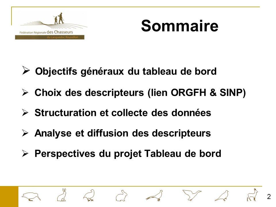 Sommaire Objectifs généraux du tableau de bord Choix des descripteurs (lien ORGFH & SINP) Structuration et collecte des données Analyse et diffusion des descripteurs Perspectives du projet Tableau de bord 2