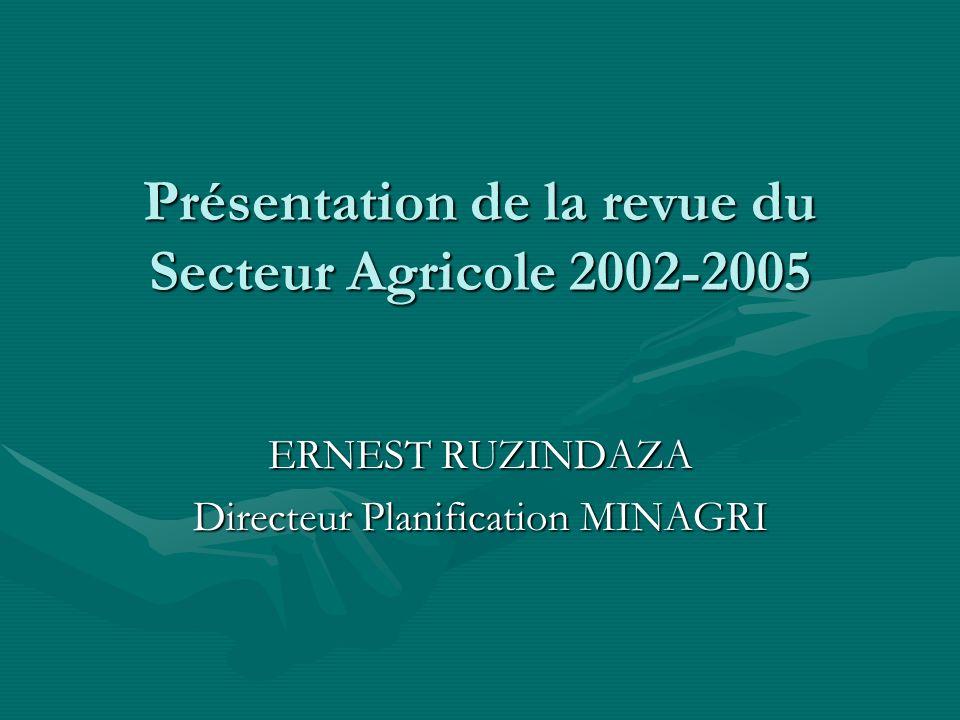 Présentation de la revue du Secteur Agricole 2002-2005 ERNEST RUZINDAZA Directeur Planification MINAGRI