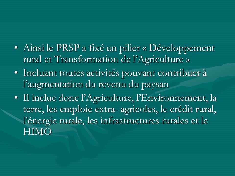 Ainsi le PRSP a fixé un pilier « Développement rural et Transformation de lAgriculture »Ainsi le PRSP a fixé un pilier « Développement rural et Transformation de lAgriculture » Incluant toutes activités pouvant contribuer à laugmentation du revenu du paysanIncluant toutes activités pouvant contribuer à laugmentation du revenu du paysan Il inclue donc lAgriculture, lEnvironnement, la terre, les emploie extra- agricoles, le crédit rural, lénergie rurale, les infrastructures rurales et le HIMOIl inclue donc lAgriculture, lEnvironnement, la terre, les emploie extra- agricoles, le crédit rural, lénergie rurale, les infrastructures rurales et le HIMO