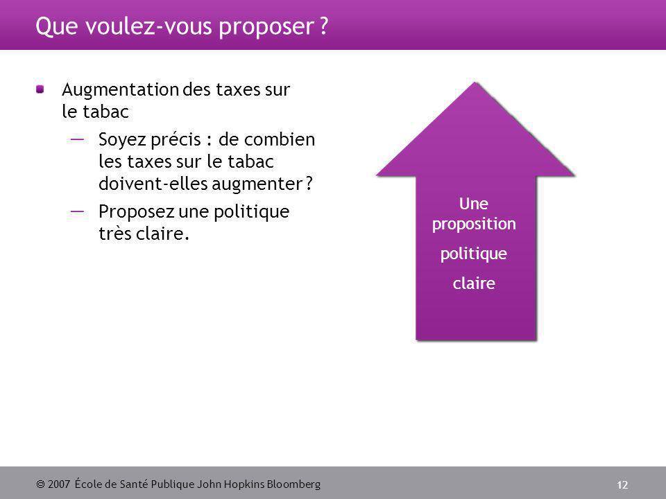 2007 École de Santé Publique John Hopkins Bloomberg 12 Que voulez-vous proposer .