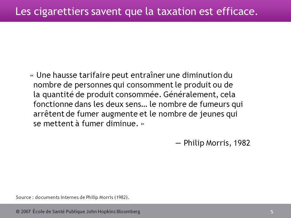2007 École de Santé Publique John Hopkins Bloomberg 5 Les cigarettiers savent que la taxation est efficace.