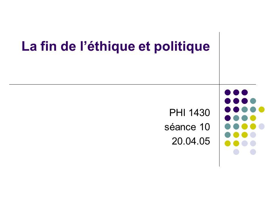 La fin de léthique et politique PHI 1430 séance 10 20.04.05