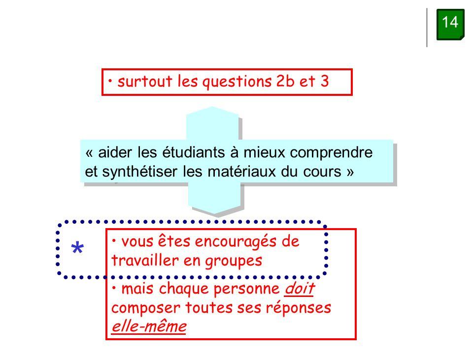 14 surtout les questions 2b et 3 « aider les étudiants à mieux comprendre et synthétiser les matériaux du cours » vous êtes encouragés de travailler en groupes mais chaque personne doit composer toutes ses réponses elle-même *