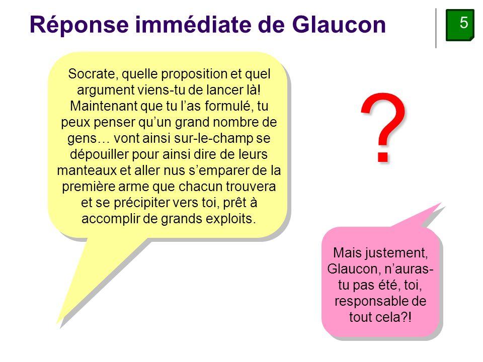 5 Réponse immédiate de Glaucon Socrate, quelle proposition et quel argument viens-tu de lancer là.