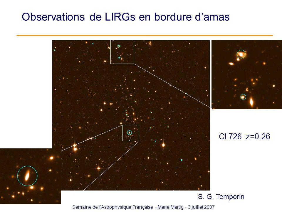 Semaine de lAstrophysique Française - Marie Martig - 3 juillet 2007 Cl 726 z=0.26 Observations de LIRGs en bordure damas S. G. Temporin