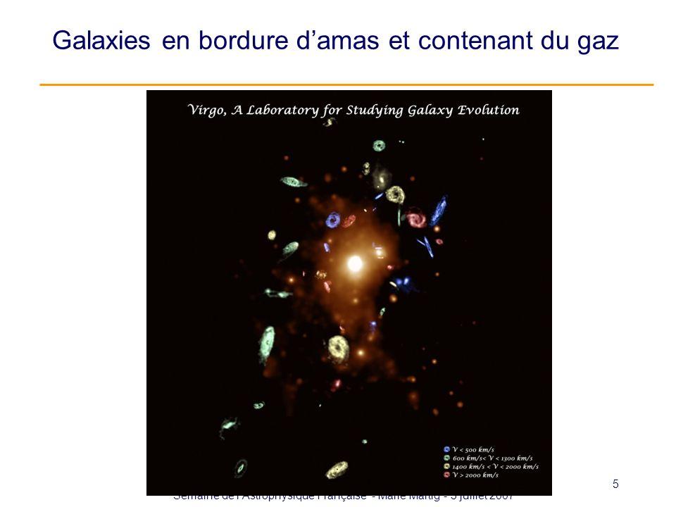 Semaine de lAstrophysique Française - Marie Martig - 3 juillet 2007 5 Galaxies en bordure damas et contenant du gaz