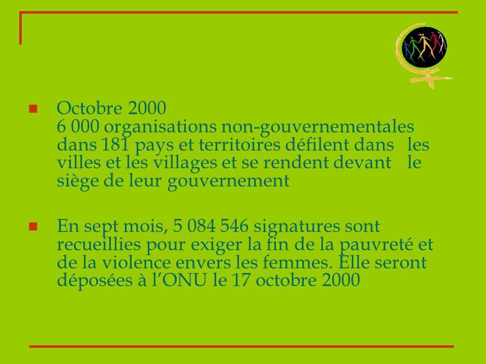 Octobre 2000 6 000 organisations non-gouvernementales dans 181 pays et territoires défilent dans les villes et les villages et se rendent devant le si